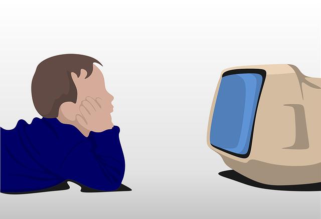 dítě u televize ilustrace